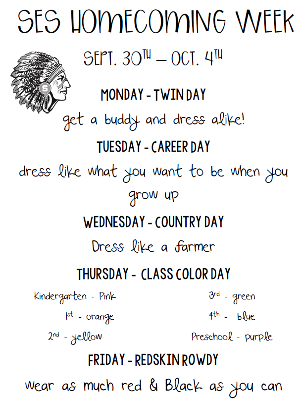 SES Homecoming Dress up days ! Go Redskins !