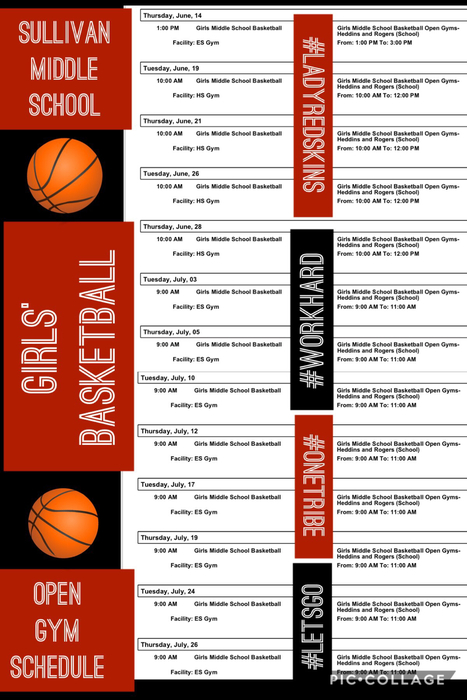 middle school girls' basketball open gym schedule