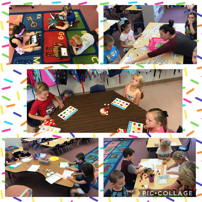 Mrs. Watkins' Kindergarteners kick off another week with centers focusing on letter and sound identification, color and shape recognition, name writing, and Lexia.