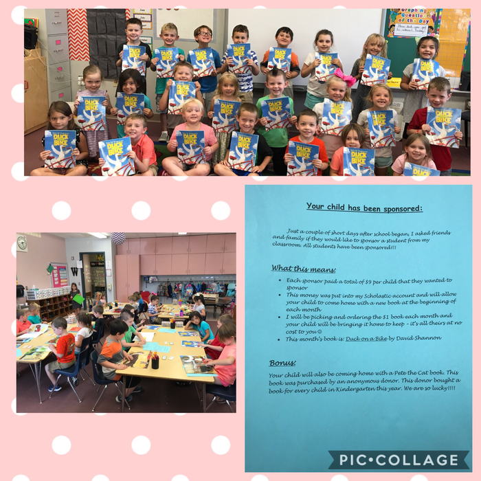 Mrs. Watkins' Class wants to say thank you to everyone who sponsored a child in this class. We received our first book today!!