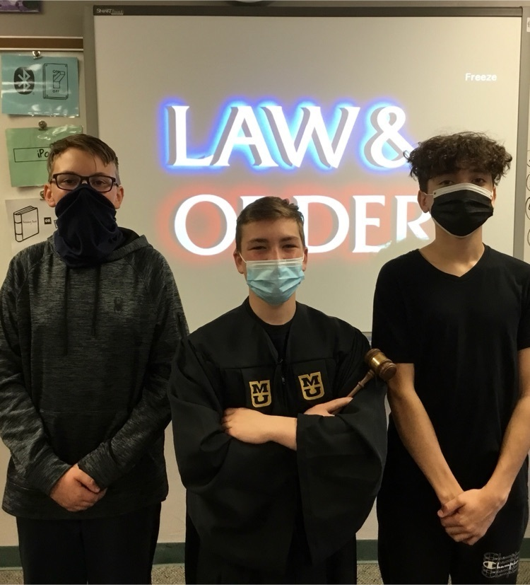 Students Ivan Moxley, Kaden Weaver, and Owen Wind played the roles of Prosecutor, Judge, and Defendant, respectively.