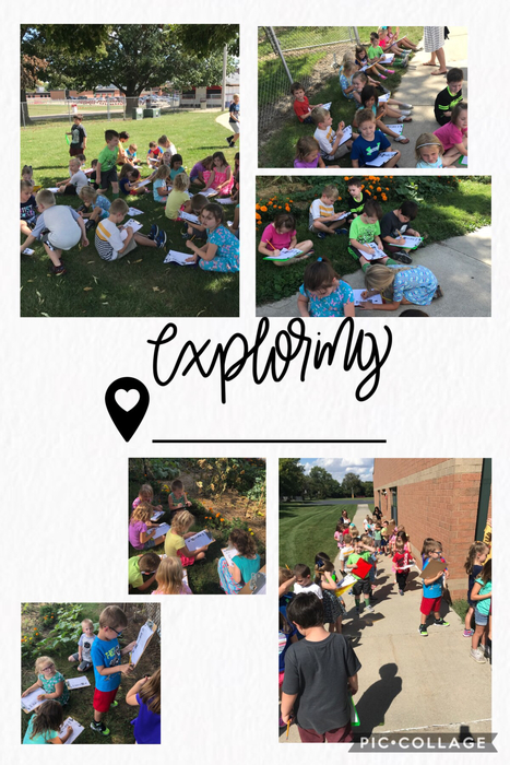 Mrs. Watkins' and Mrs. VanDeursen's Kindergarten classes went on a nature walk today. They explored the outdoors using their five senses.