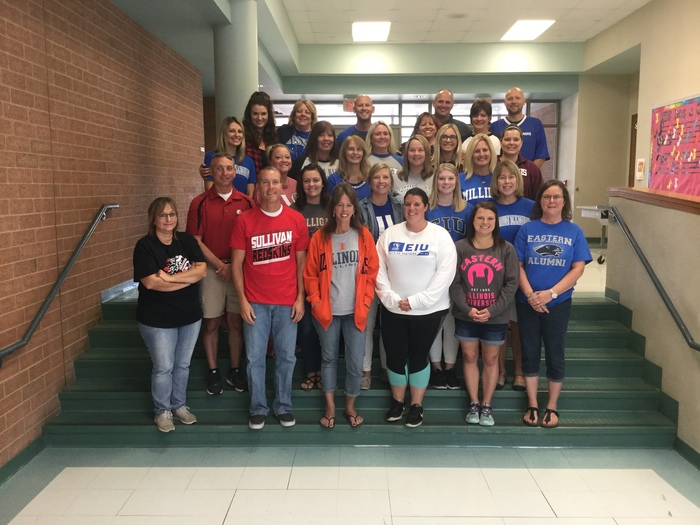 Sullivan Elementary teachers in alma mater shirts