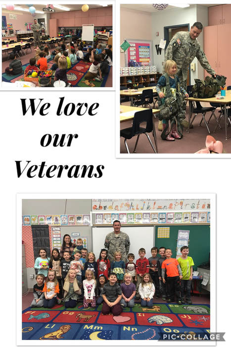 Mrs. Watkins' kindergarteners loved having guest speaker and Veteran, Joshua Perrott. They enjoyed listening to him share about his job as a helicopter pilot. We want to thank both Joshua and his wife, Jaime for their service!