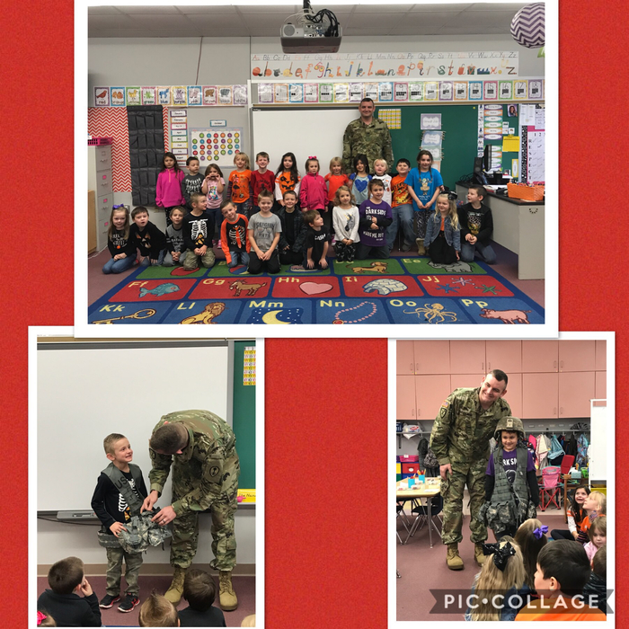 Mrs. Watkins' kindergarten class enjoyed another wonderful guest speaker in honor of Veterans Day. SGT Sean Clark shared about his experience in the Army as well as some of his equipment, badges, and awards! Thank you for your service Sean!
