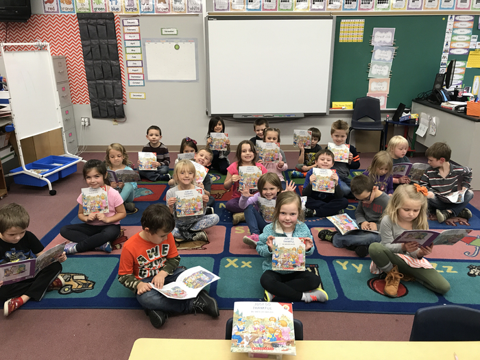 Mrs. Watkins' students are enjoying their book of the month: Just So Thankful by Mercer Mayer