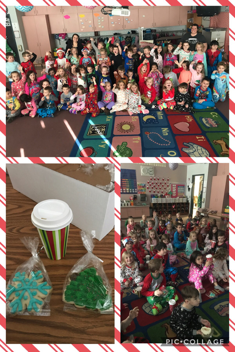 Mrs. VanDeursen & Mrs. Watkins' classes took a trip on the Polar Express today in their pajamas. They were spoiled with hot chocolate and cookies. To finish the morning, Mr. Allen delivered envelopes straight from the North Pole! Both classes received bells from Santa's sleigh (and they were still cold)! What an exciting morning for Kindergarten.