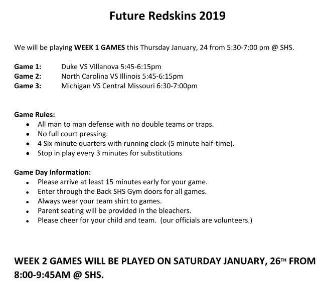 Future Redskins schedule update