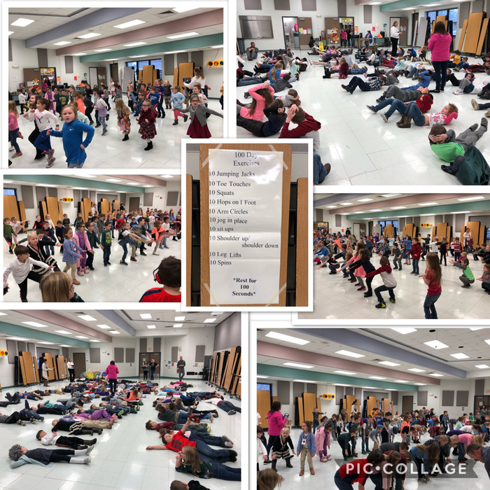 Kindergarten was full of activities involving the number 100 today. All kindergarten classes met in the cafeteria this morning for a 100 day workout!