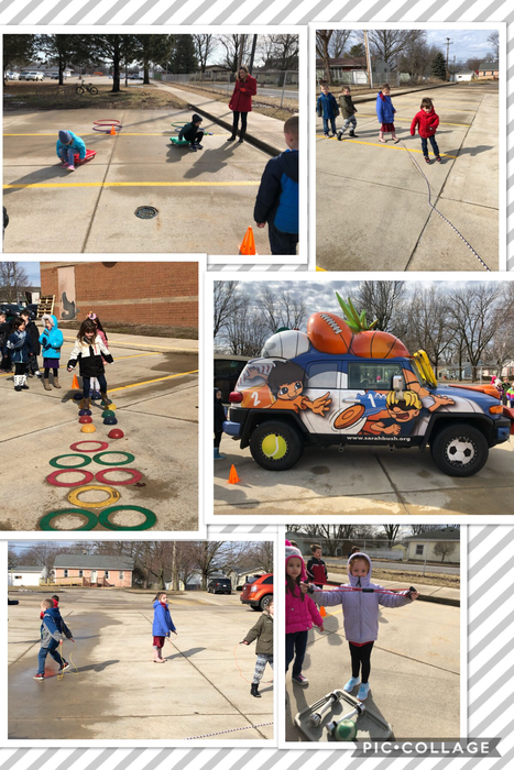 Mrs. Dickens and Mrs. Watkins' classes enjoyed some sunshine and exercise for their last Heathy Kids lesson with Miss Brittany from Sarah Bush
