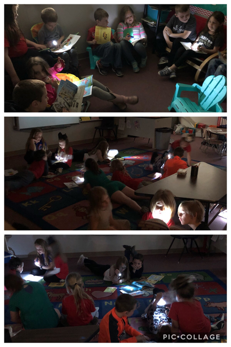 Every Friday, Mrs. Hussong's second graders and Mrs. Watkins' kindergarteners come together for reading buddies. Today they enjoyed a new twist to reading: Flashlight Friday. The gloomy weather made it a perfect day for turning off the lights and reading around the room with flashlights!