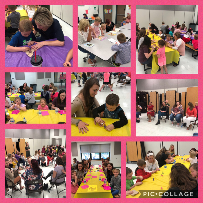 Mrs. VanDeursen and Mrs. Watkins' classes enjoyed spoiling their mothers and grandmothers during a Mother's Day celebration. They enjoyed a snack, a massage, getting their nails painted, and reading books that the students had written about their moms.