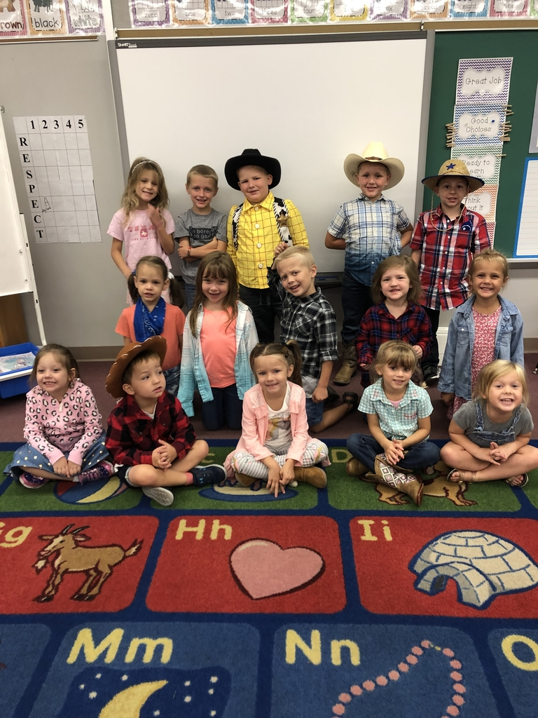 Mrs. Watkins' kindergarten class is having fun with letters. Today they are learning about the letter Ww so they are dressing up Western style.