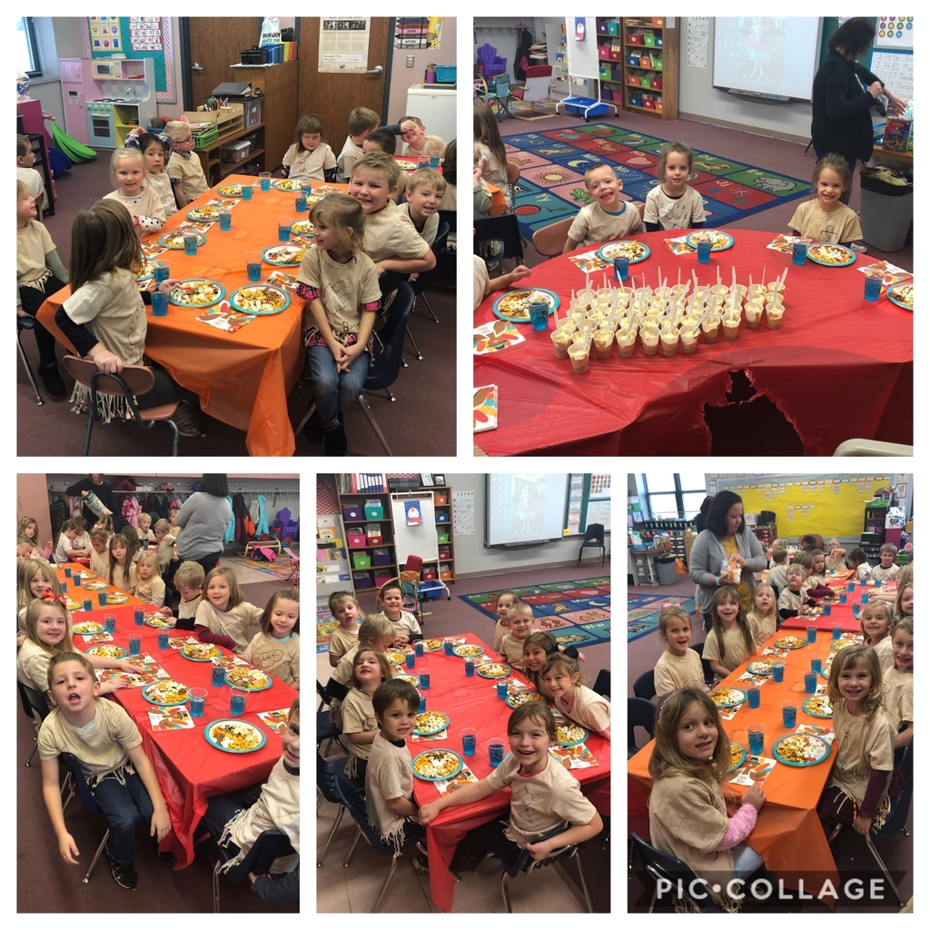 Mrs. VanDeursen and Mrs. Watkins' classes enjoyed a Thanksgiving feast this afternoon.