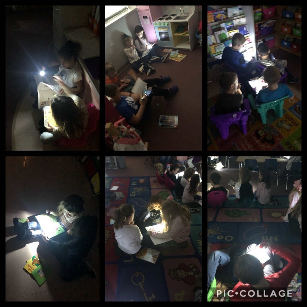 Mrs. Hussong's second graders enjoyed time with their reading buddies in Mrs. Watkins' kindergarten class. With today being so gloomy, it was the perfect day to read with flashlights.