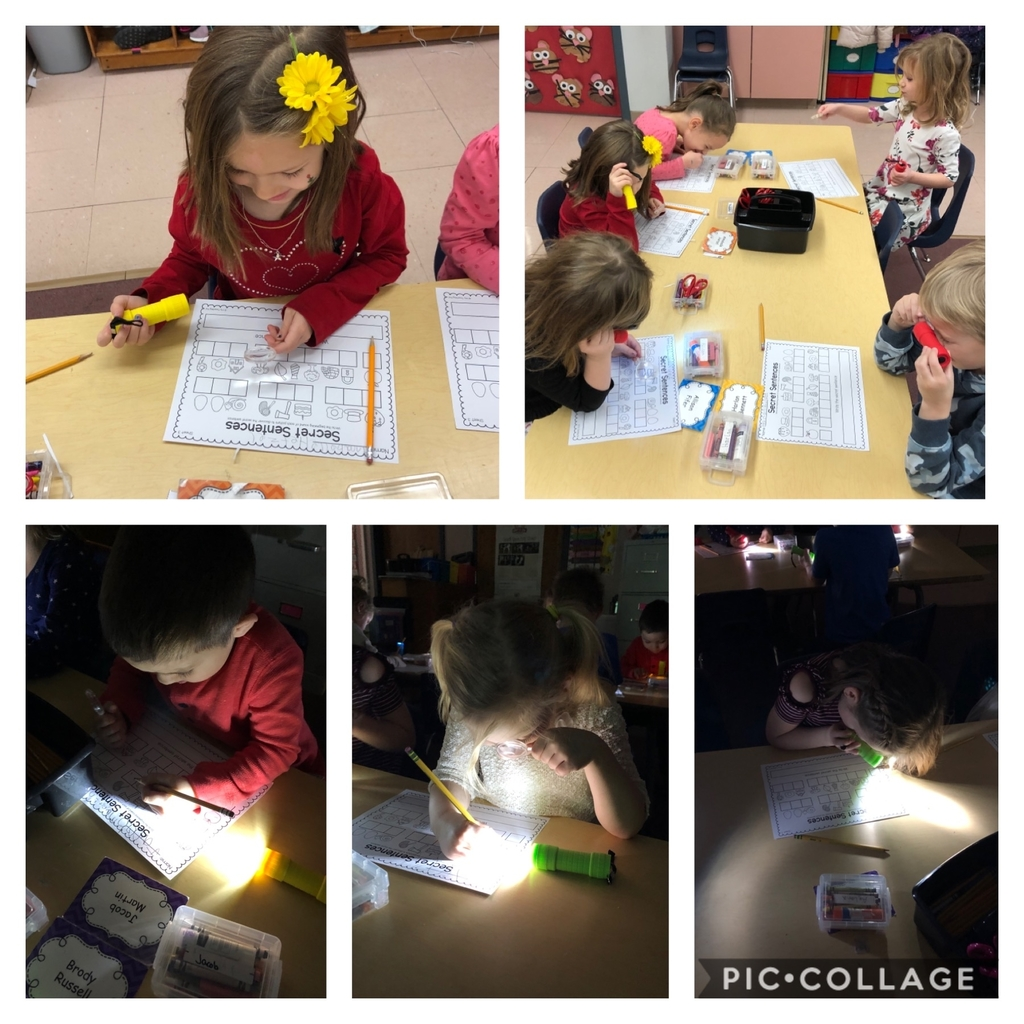 Students in Mrs. Watkins' kindergarten classroom have transformed into super spies while trying to crack the code of secret sentences. They love using magnifying glasses and flashlights to help them with their detective work!