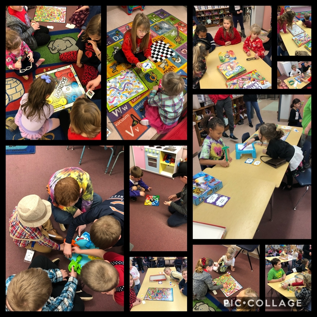 Today marks the January Good Behavior Celebration for SES. Mrs. Hussong and Mrs. Watkins' classes changed their reading buddy time into game time today to celebrate!