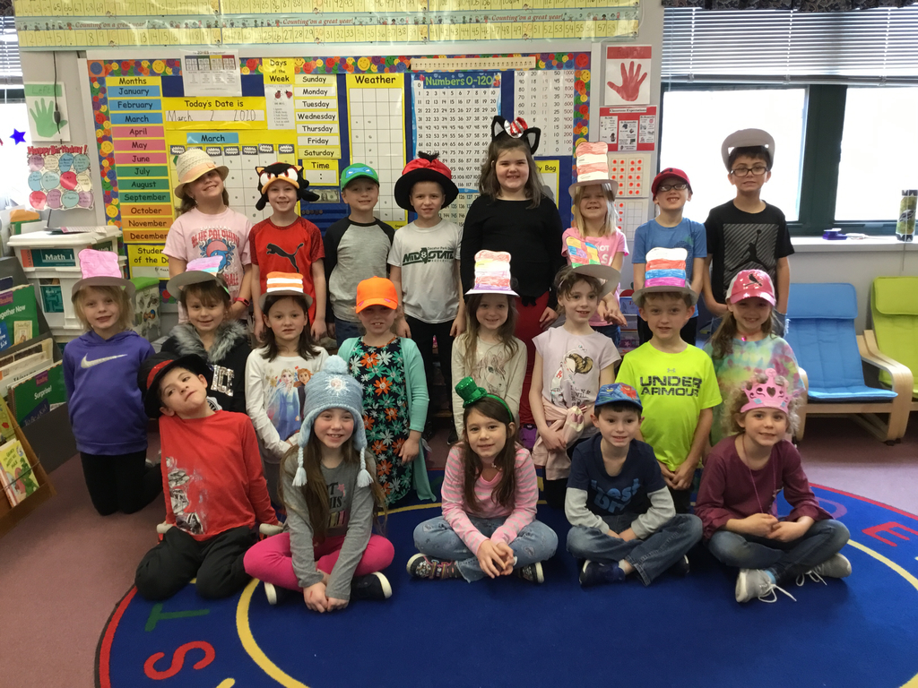 Mrs. Drollinger's class is all decked out for hat day!  Happy Birthday Dr. Seuss!